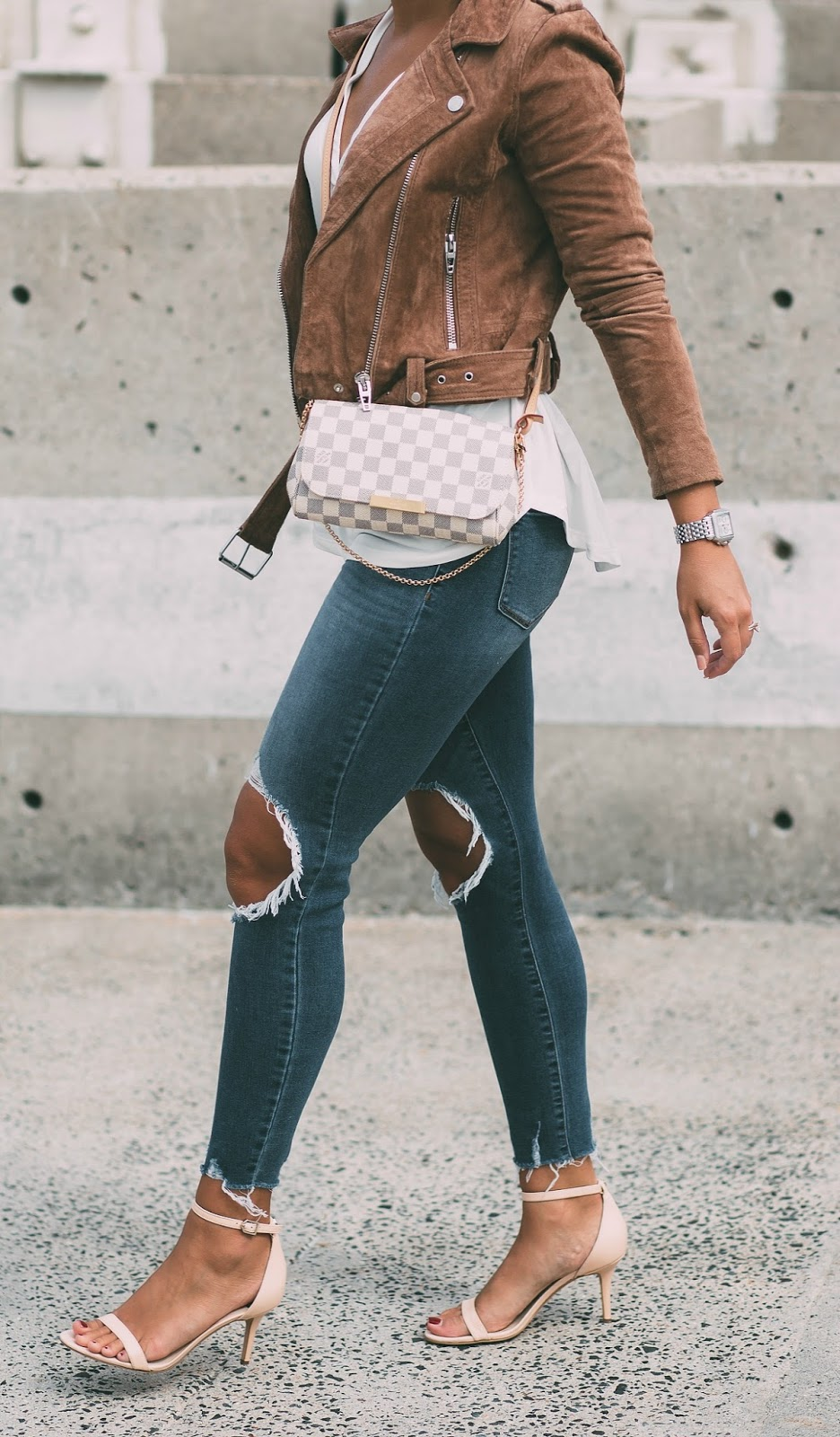 suede leather jacket, ankle strap heels, louis vuitton damier azur