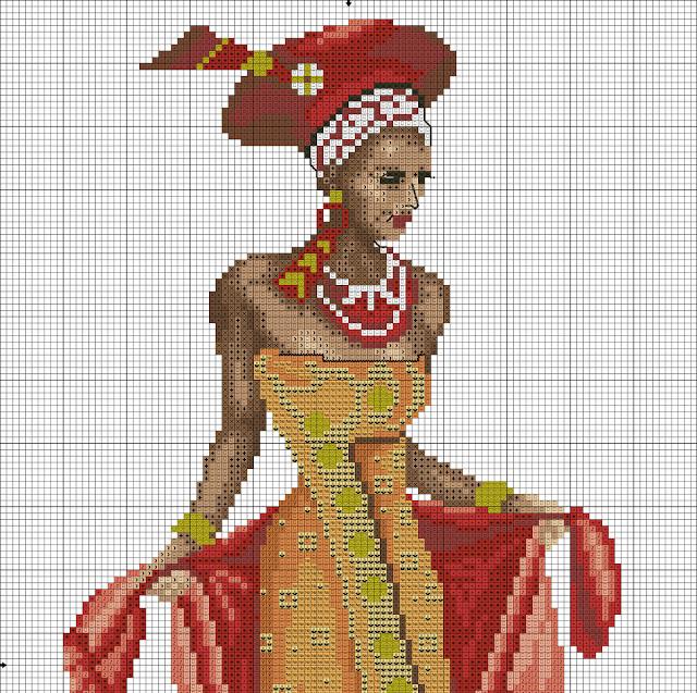 DIY Decoração Em Ponto Cruz - Lindas Mulheres Africanas Com Gráficos 2