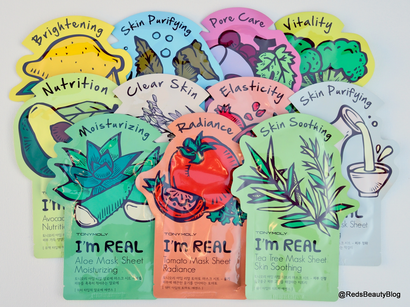 A picture of all Tony Moly I'm Real Sheet Masks