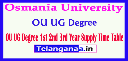 OU UG Degree Osmania University Degree 1st 2nd 3rd Year Supply Time Table 2018