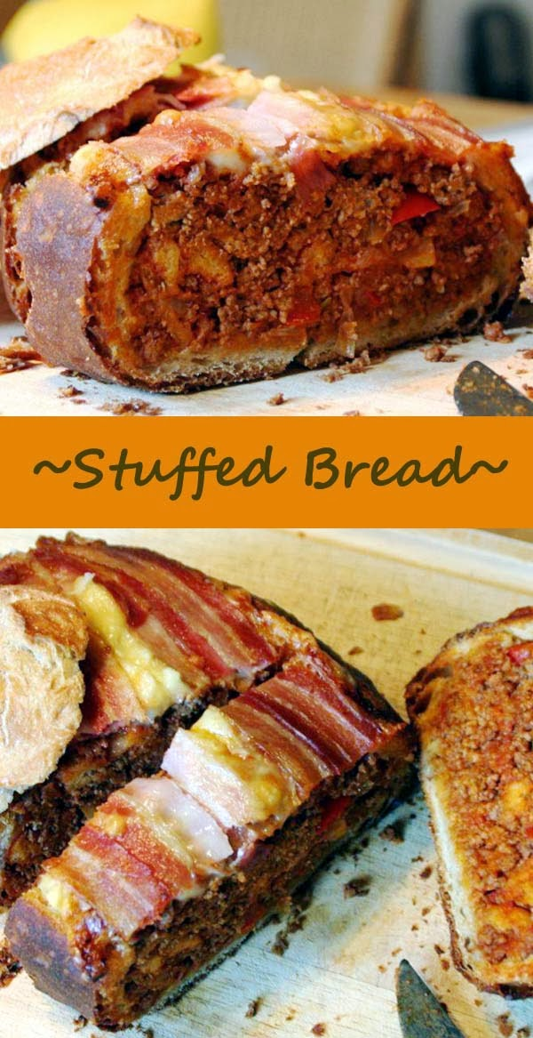 Stuffed Bread Topped with Cheese and Bacon. Click for Recipe