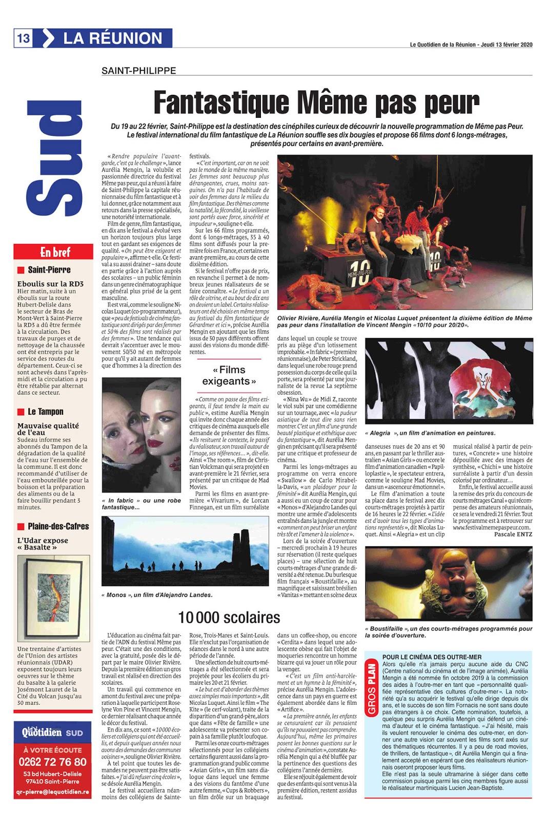 La 10ème édition du Festival MEME PAS PEUR dans Le Quotidien de La Réunion