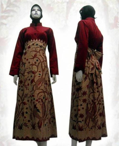 Baju Batik Modern Untuk Orang Tua: Model Gamis Batik Kombinasi Untuk Orang Tua
