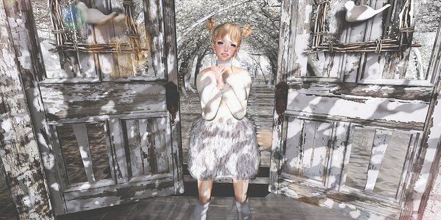 {amiable}Knit & Feather Fur Skirt Dress@N°21 (50%OFF SALE).