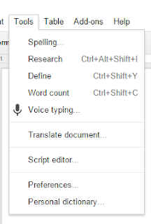 Google Drive voice typing menu being used as a modification