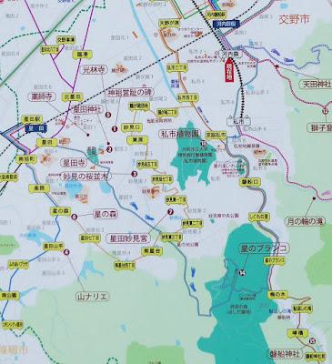 JR星田駅、JR河内磐船駅、京阪河内森駅、京阪私市駅から星のブランコまでの徒歩ルート・地図