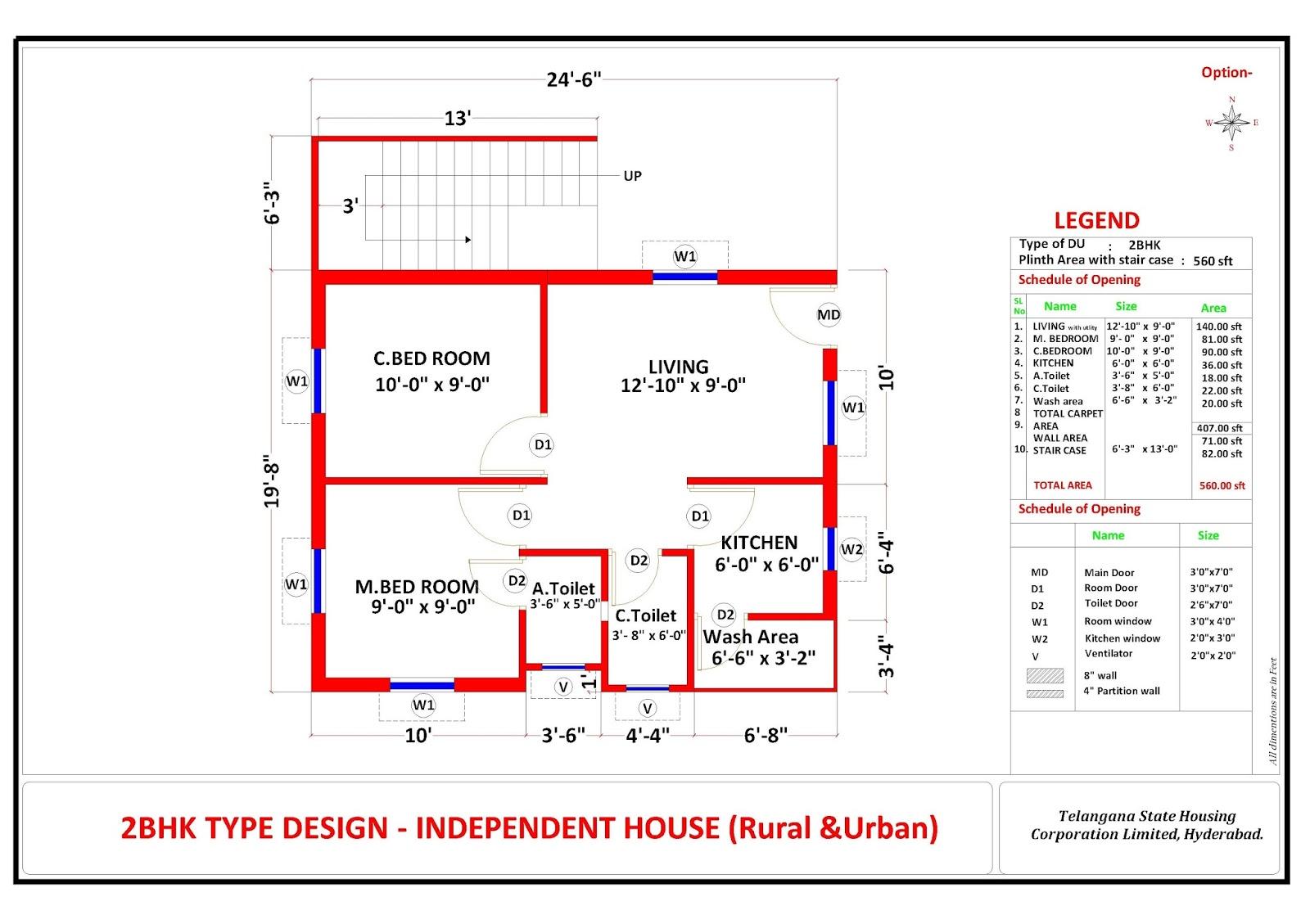 Telangana housing scheme 2bhk design 2bhk plan telangana for Plan of 2bhk house