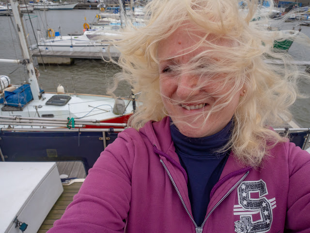 Photo of me on another windy day at Maryport Marina