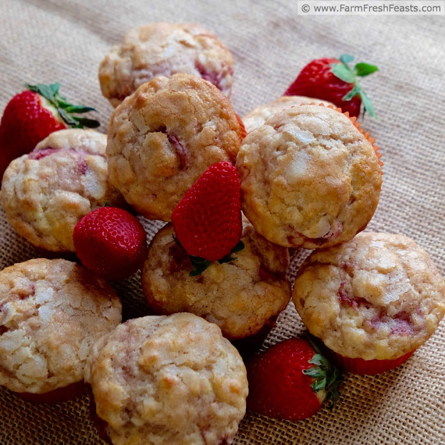 A tender muffin enriched with vanilla yogurt and local strawberries, sweetened with a touch of vanilla sugar on top.