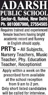 Adarsh Public School Wanted PRT Teachers | Last Date: 6th August 2018