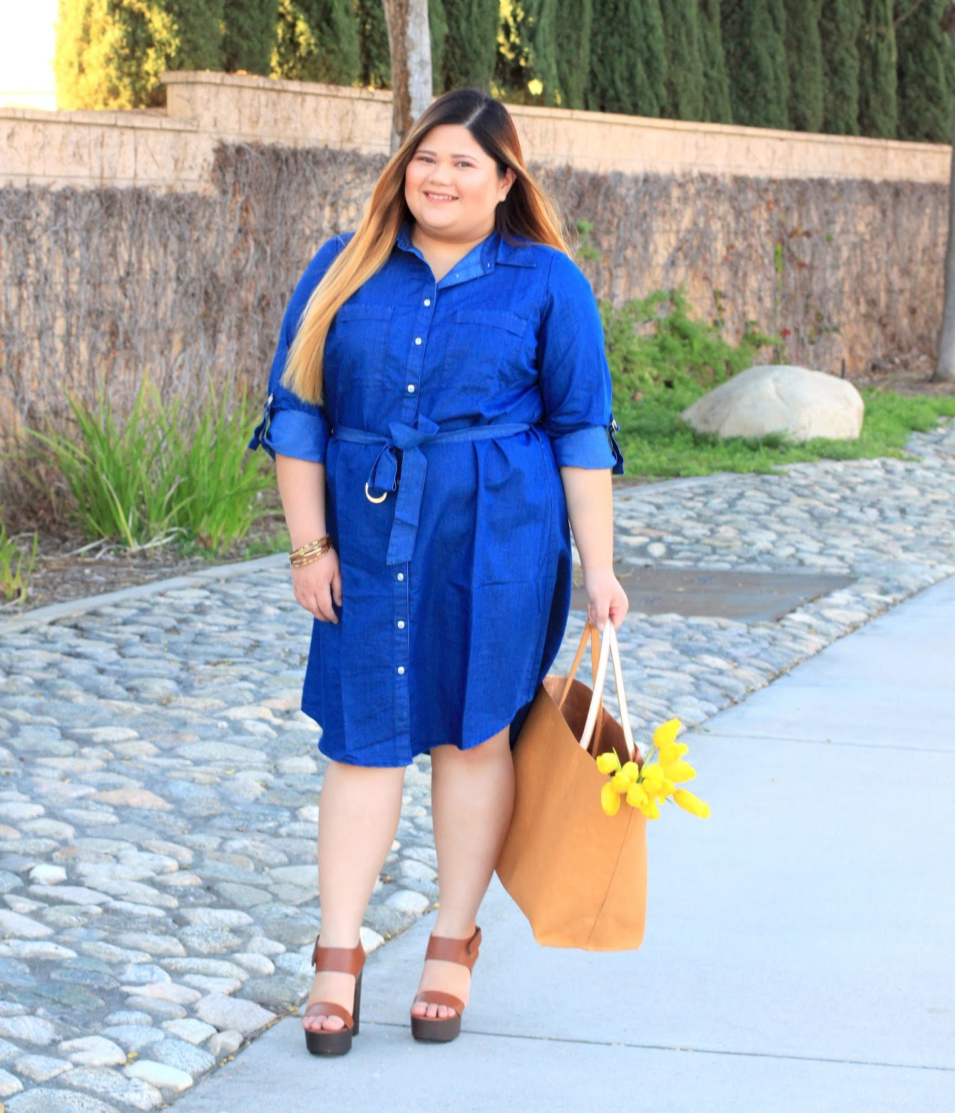Curveella: You can never go wrong with a denim shirt dress