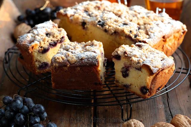 Crumble cake , gouter d'automne , raisins noirs , gourmand , facile