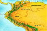 Mapa de algunos de los países andinos