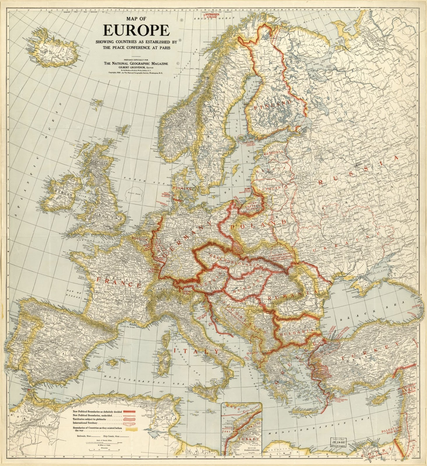 Map of Europe showing countries as established by the peace conference at Paris