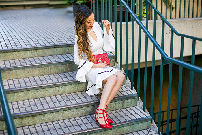 little white dress, bell sleeve and flared hem little white dress, bell sleeve little white dress, valentino heels, baublebar dangler earrings, saint laurent clutch, spring outfit ideas, date night outfit ideas, san francisco fashion blog, san francisco street style