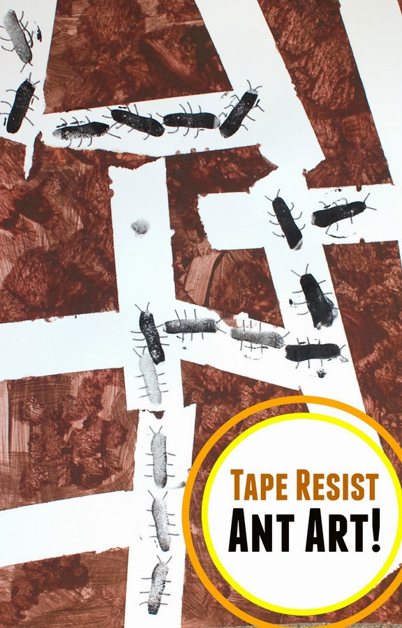 Tape Resist Ant Art- Great way to combine science and art by learning about ants and then making artwork about their tunnels!