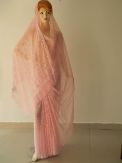 Lucknowi Chikan Light Pink Georgette Saree