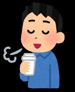 コーヒーで一服している人のイラスト(男性・タンブラー)