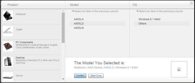 tentukan model dan OS