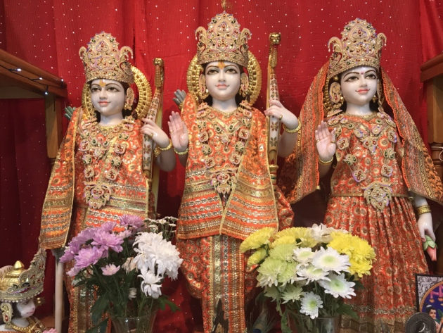 The deities of Shri Ram, Sita Devi and Lakshman in the Ipswich Hindu Mandir Picture: ELLA WILKINSON