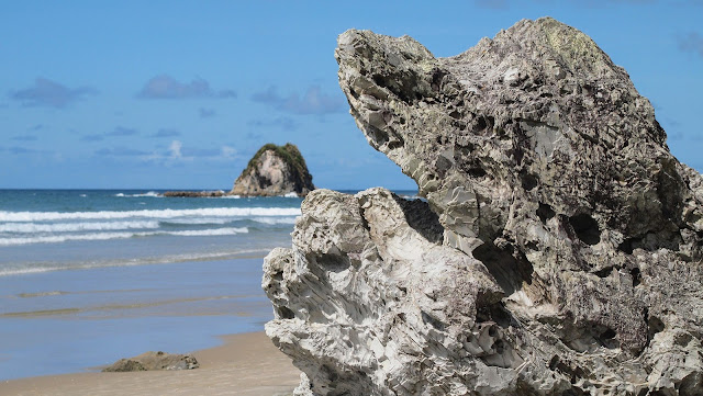Rocks on the beach at Mangawhai Heads on the drive from Auckland to Paihia in the Bay of Islands New Zealand