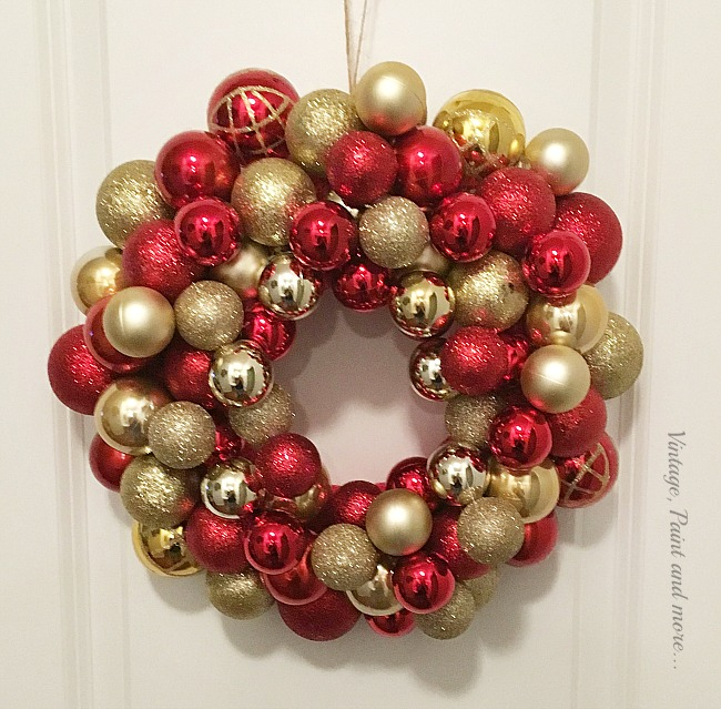 Vintage, Paint and more... DIY ornament wreath that can easily be made in an hour or two with items found at most dollar stores