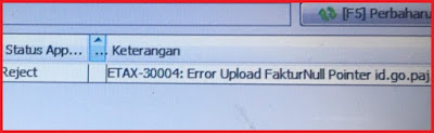 efaktur Error ETAX-30004 : Error Upload FakturNull Pointer
