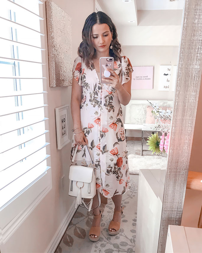 Summer 2018 Cute Summer Dress Blogger Outfit Forever21 Butterfly Sleeve Pink Floral Midi Dress Chloe Dupe Backpack