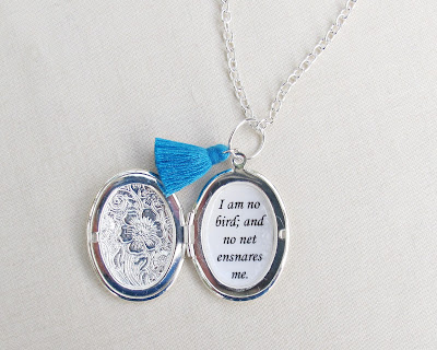 image locket necklace jane eyre quote typography i am no bird and no net ensnares me tassel two cheeky monkeys jewellery jewelry