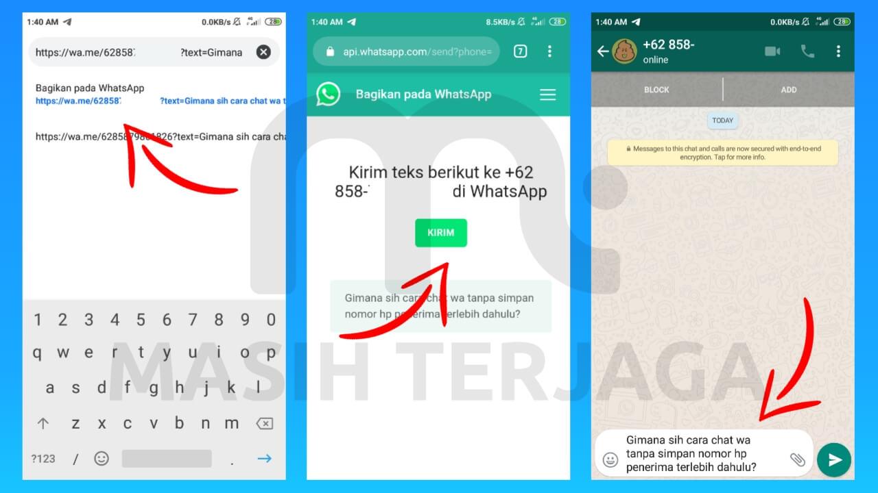 cara mengirim pesan whatsapp tanpa save nomor penerima terlebih dahulu (tidak berteman)