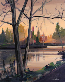An acrylic painting of a sunrise at Audubon Lake, Amherst NY.