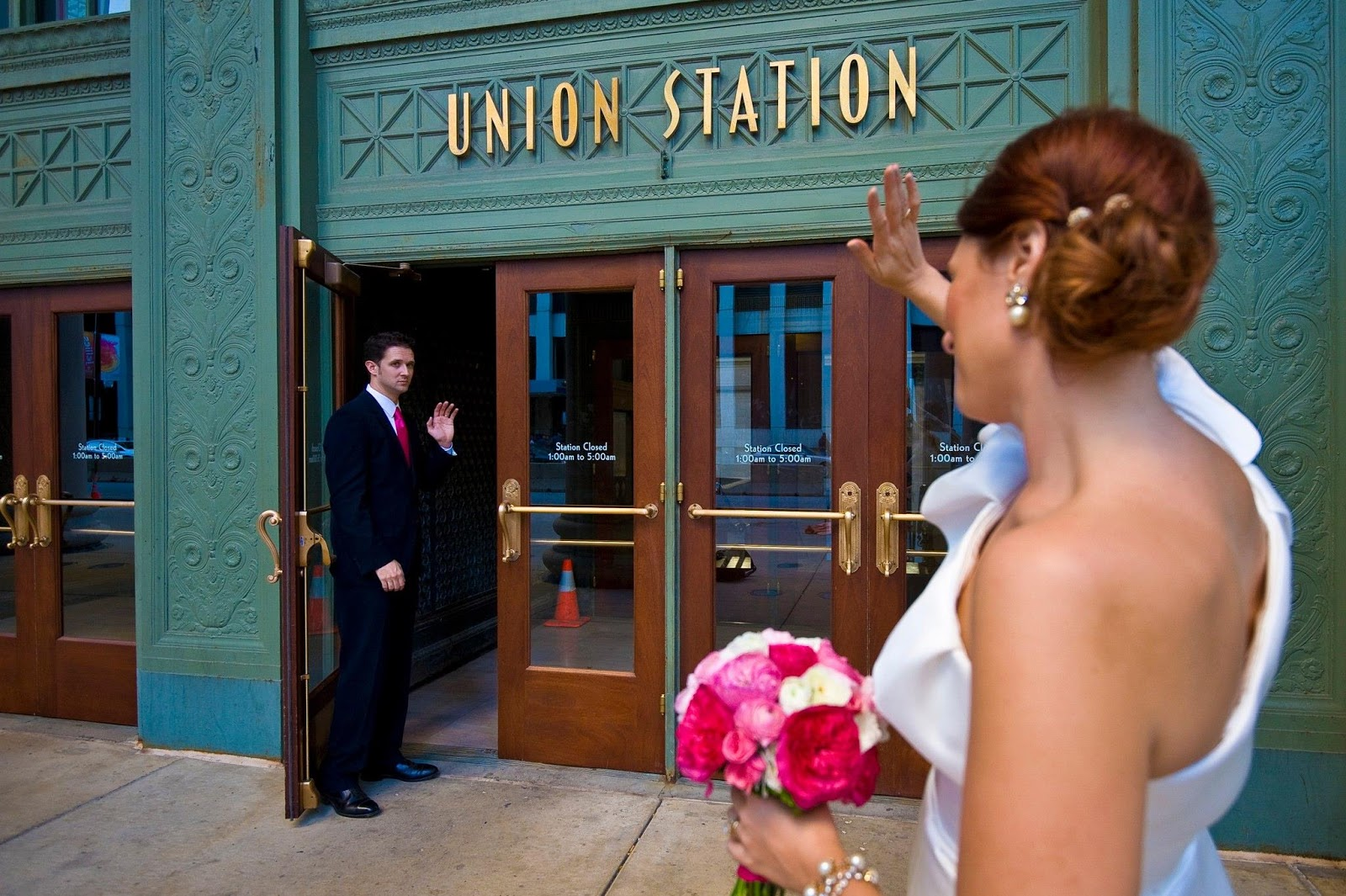 Chicago, wedding, hot pink, union station