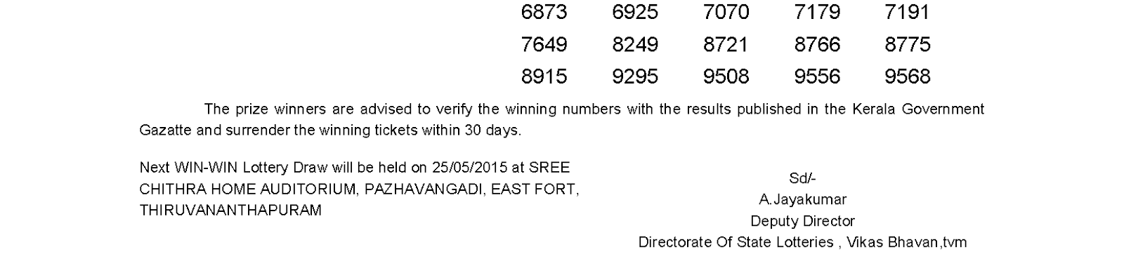 WIN WIN Lottery W 308 Result 18-5-2015