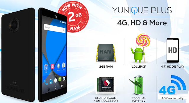 Yunique Plus 2GB RAM 8GB ROM prices at Rs.6499/-