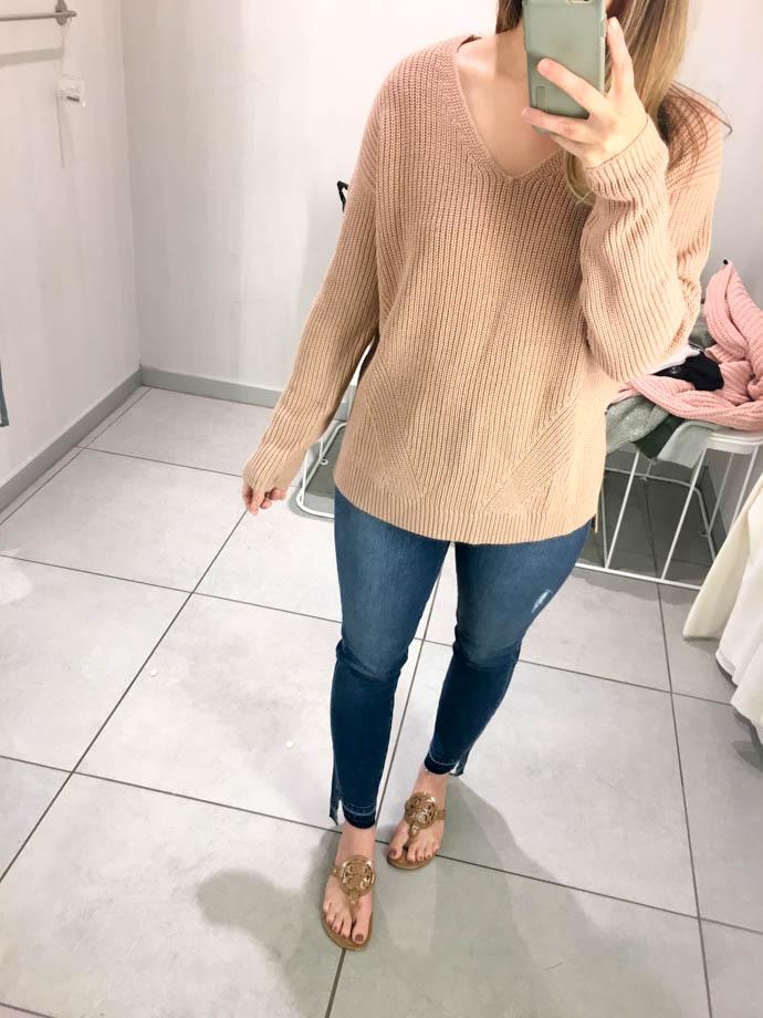 beige v-neck h&m double-knit sweater, fall outfit 2017, amanda sumner, the girlish blog, girl(ish), sc fashion blogger