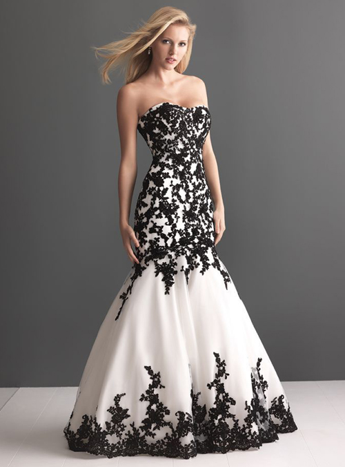 black and white wedding dress sweetheart