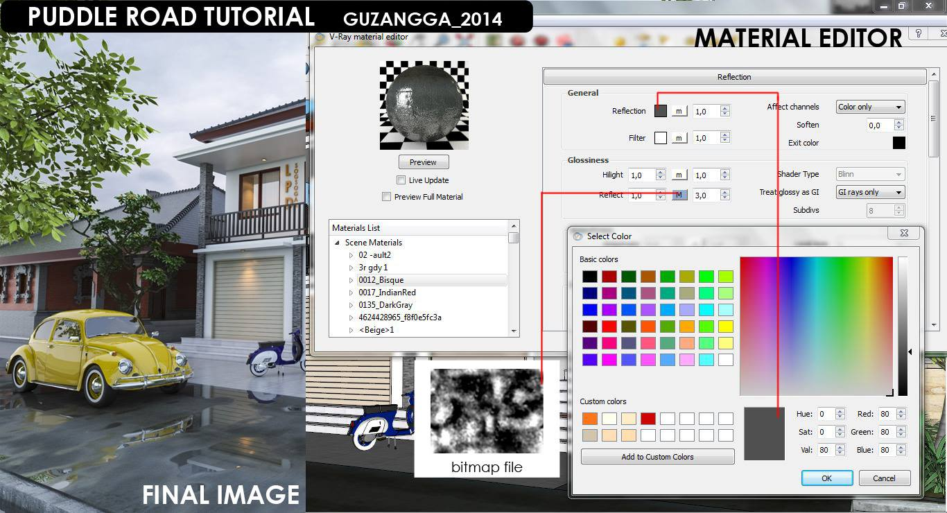 vray material editor tutorial Vray for sketchup wet road