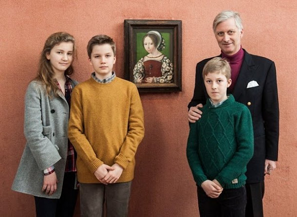 "King Philippe, Crown Princess Elisabeth, Prince Gabriel and Prince Emmanuel visited ""In Search of Utopia"" exhibition"