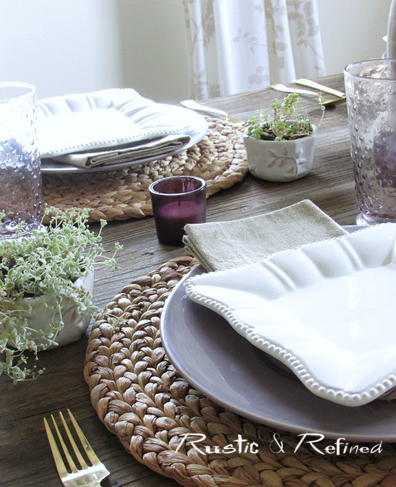 Rustic Table Top Setting with burlap and barnwood
