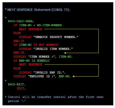 COBOL NEXT SENTENCE, COBOL CONTINUE