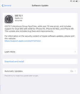 Apple iOS 12.1 update on the iPad