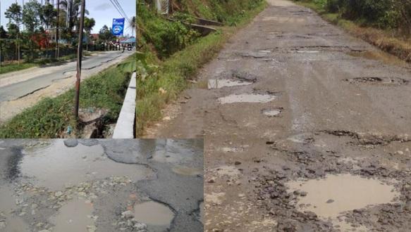 Parah, Jalan Raya Sidamanik Rusak Parah, Pemkab Simalungun Bungkam.