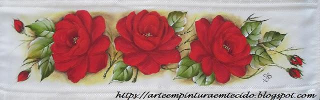 rosas pintadas toalhas