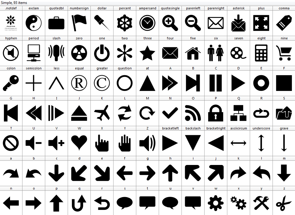 Download Font 90 Icons font ttf otf 90 icons