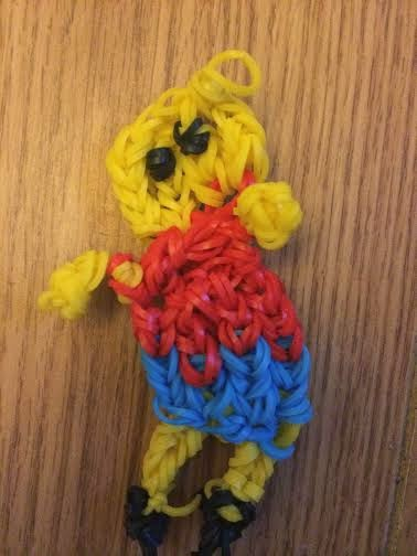 a Bart Simson made out of loom bands