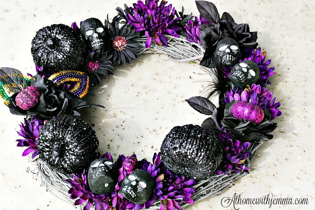 diy-decorating-pumpkins-mask-skulls-black-purple-athomewithjemma