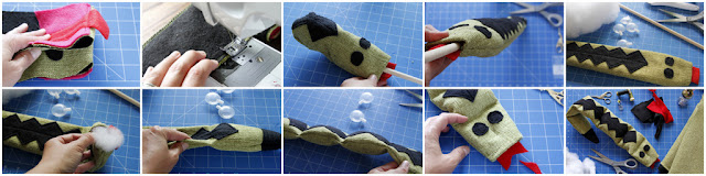 DIY dog toy shaped like a snake with stuffing and squeakers, step-by-step how to make