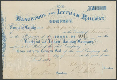 Blackpool and Lytham Railway share certificate with embossed seal depicting lighthouse