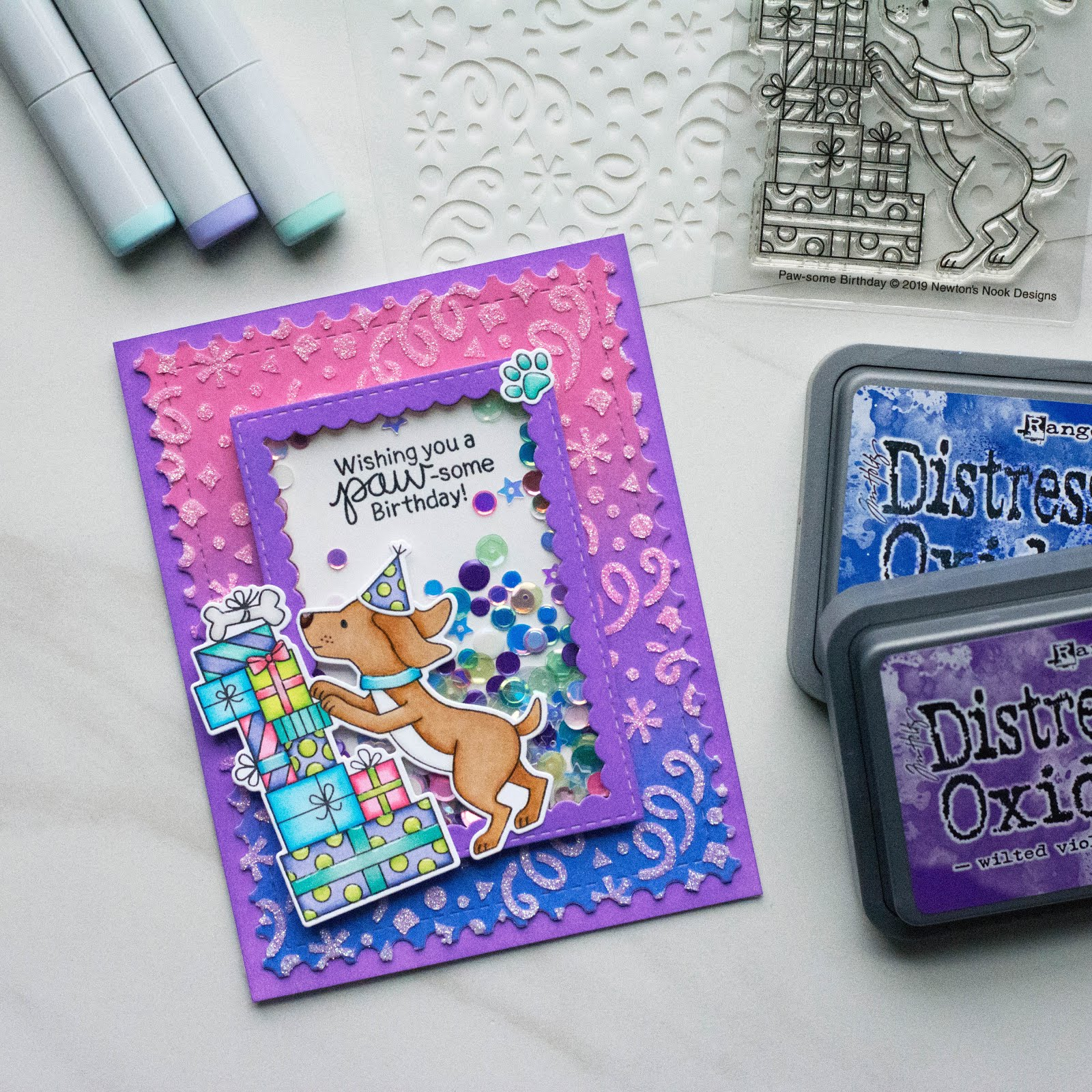 Paw-Some Shaker Birthday Cards by June Guest Designer Amy Tollner | Paw-some Birthday Stamp Set, Confetti Stencil, Framework Die Set, and Frames & Flags Die Set by Newton's Nook Designs #newtonsnook #handmade