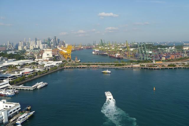 Widok z kolejki linowej w Singapurze